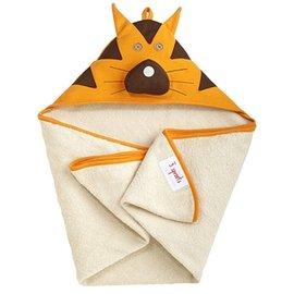 【淘氣寶寶】加拿大 3 Sprouts 連帽浴巾-小老虎【可當作被毯、包巾或浴巾,一巾三用】【保證公司貨】
