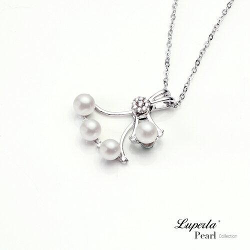 大東山珠寶 純潔浪漫 純銀晶鑽珍珠項鍊 2