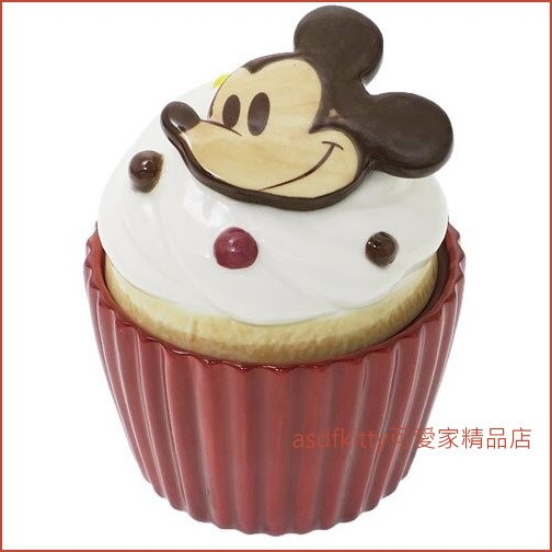 asdfkitty可愛家☆米奇杯子蛋糕造型陶瓷收納罐/置物罐-日本正版商品