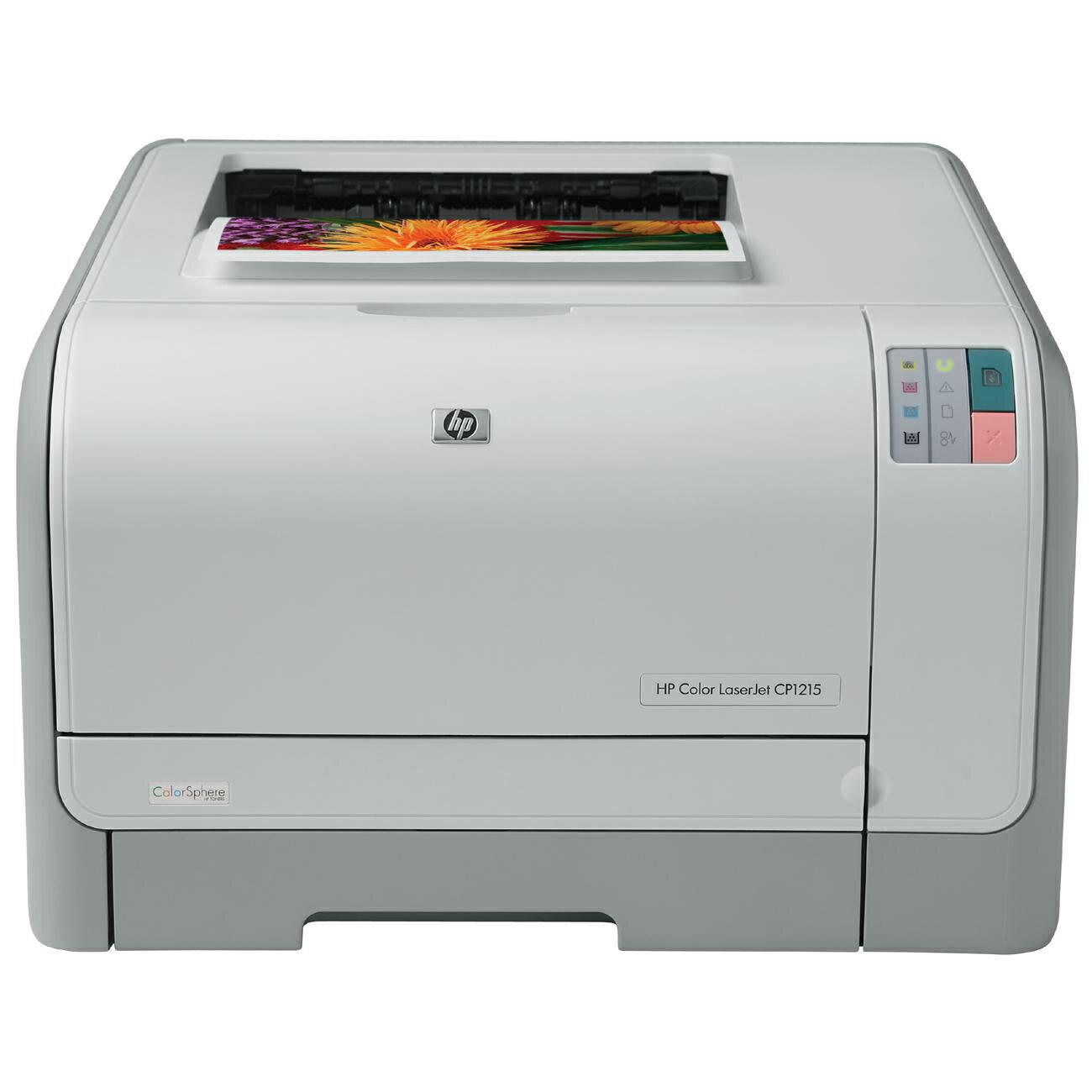 HP LaserJet CP1000 CP1215 Laser Printer - Color - 600 x 600 dpi Print - Photo Print - Desktop - 12 ppm Mono / 8 ppm Color Print - Letter, Legal, Executive, Envelope No. 10, Monarch Envelope, Custom Size - 150 sheets Standard Input Capacity - 25000 Duty Cy 0