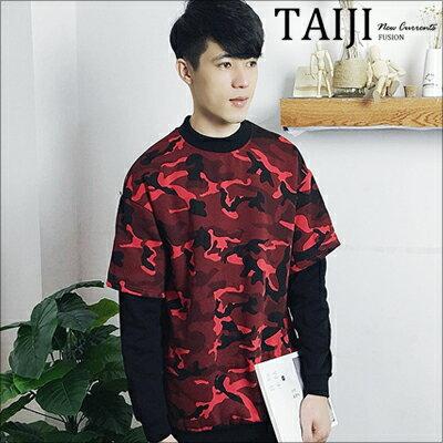 圓領長T‧迷彩假兩件刷毛圓領長T【ND91086】-TAIJI