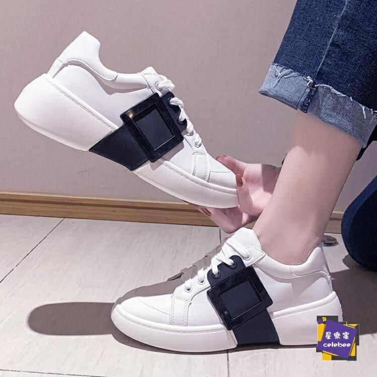 小白鞋 明星同款方扣小白鞋女運動鞋子2020春季新款百搭增高厚底休閒板鞋