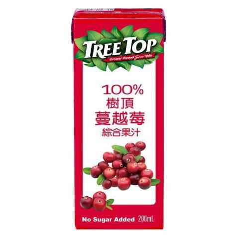 【樹頂Treetop】100%蔓越莓/石榴莓/蜜桃綜合/蘋果汁/柳橙汁鋁箔包 200ml/六入