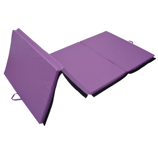 "Soozier 10' x 4' x 2"" PU Leather Folding Gymnastics Tumbling / Martial Arts Mat with Handles - Purple 2"