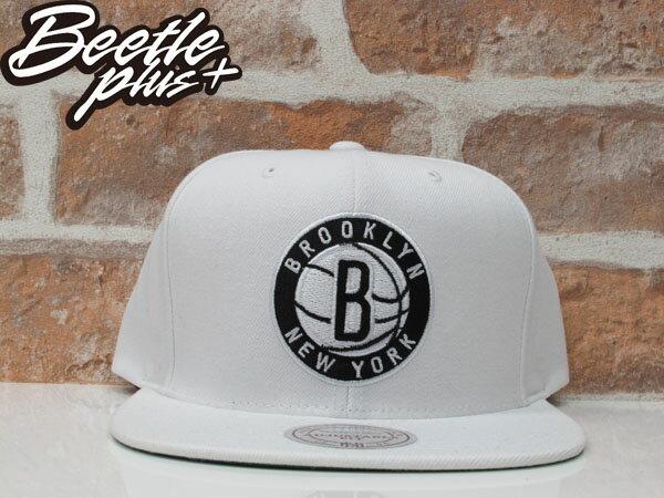 BEETLE MITCHELL&NESS NBA BROOKLYN NETS 布魯克林 籃網 全白 NETS 白黑 SNAPBACK 後扣棒球帽