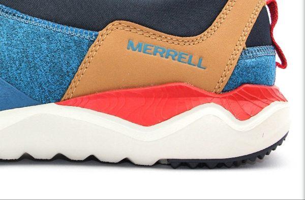 MERRELL 都會休閒款 避震氣墊 舒適耐走 直套式 免綁鞋帶 藍/卡其 男款 6