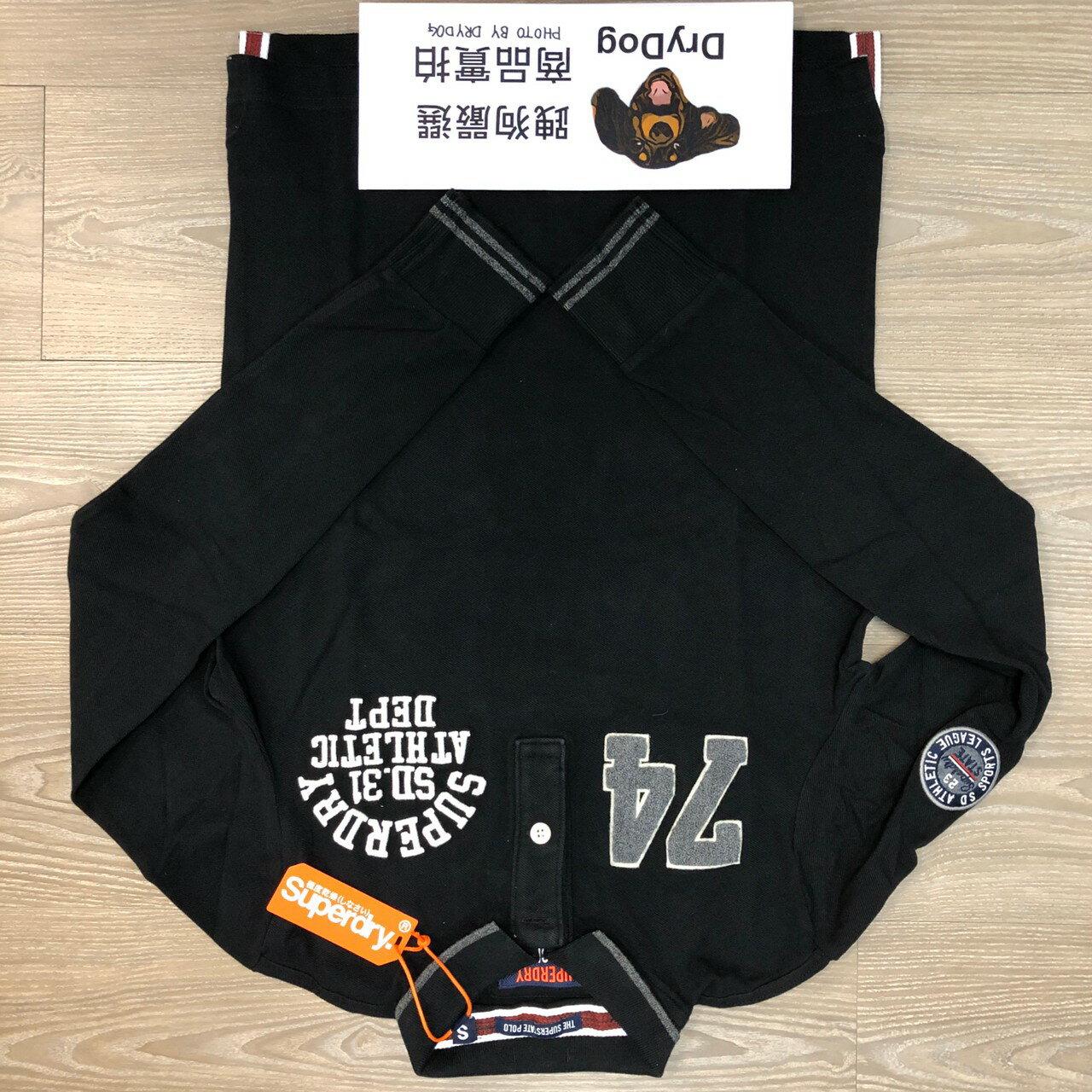跩狗嚴選 極度乾燥 Superdry 黑色 長袖 Polo衫 電繡 Logo 素色 純棉 上衣 素T