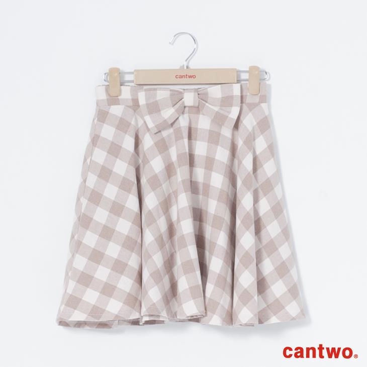 cantwo復古雙色格紋蝴蝶結短裙(共三色) 6