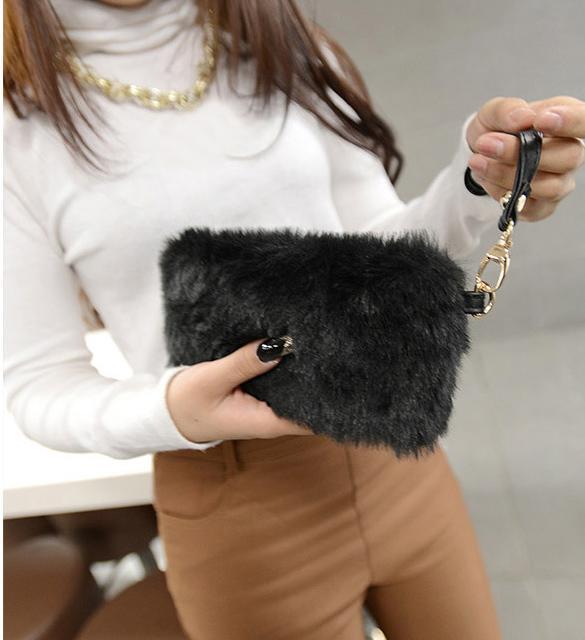 Clutch Bag Faux Fur  Wallet 0