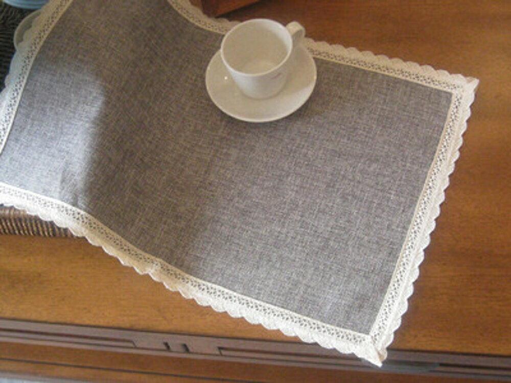 歐式時尚全棉麻隔熱防滑墊 雙面桌墊餐墊 杯墊 餐巾小 (四入)