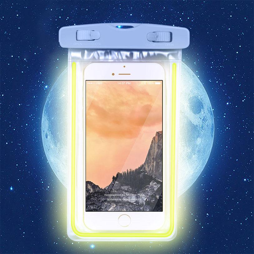 PS Mall 夜光款手機 螢光防水袋 觸摸透明PVC潛水套【J312】 3