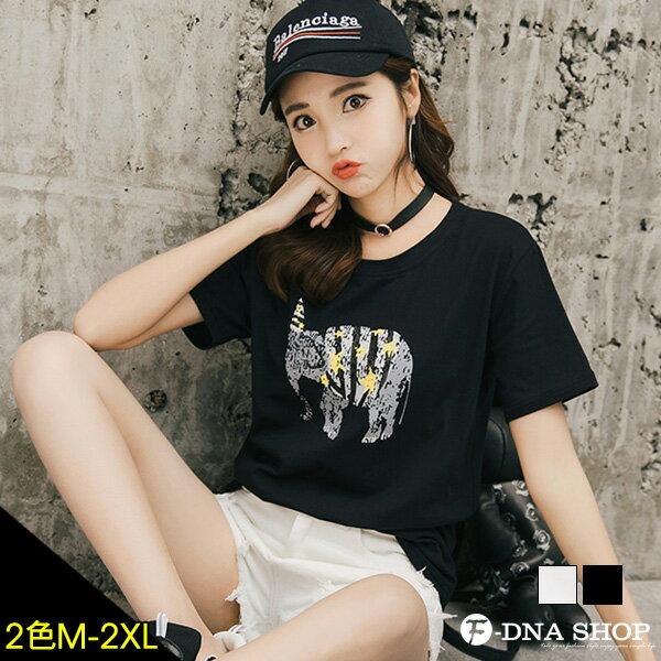 F-DNA★拓印大象圓領短袖上衣T恤(2色-M-2XL)【ET12738】