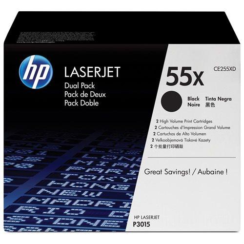 HP 55X (CE255XD) 2-pack High Yield Black Original LaserJet Toner Cartridges - Laser - 12500 Pages 0