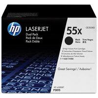 HP 55X (CE255XD) 2-pack High Yield Black Original LaserJet Toner Cartridges - Laser - 12500 Pages