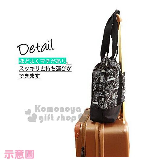 〔小禮堂〕史努比 可折疊側背旅行袋《黑.漫畫》可掛於行李箱桿上 4