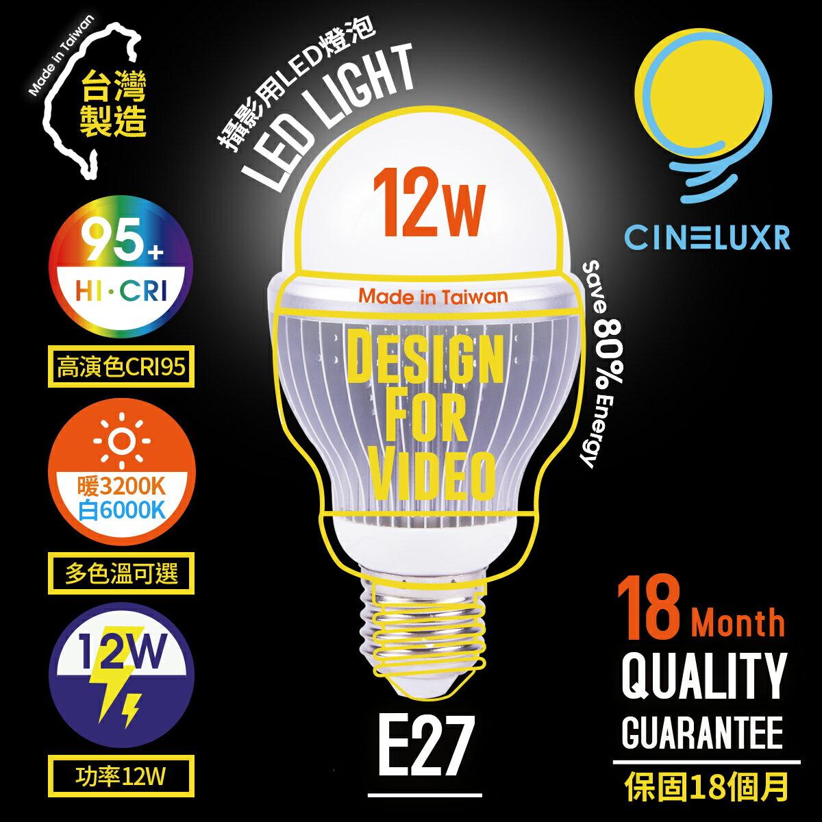享樂攝影  製Cineluxr 12W 攝影用 LED燈泡 CRI95高演色 無頻閃 錄