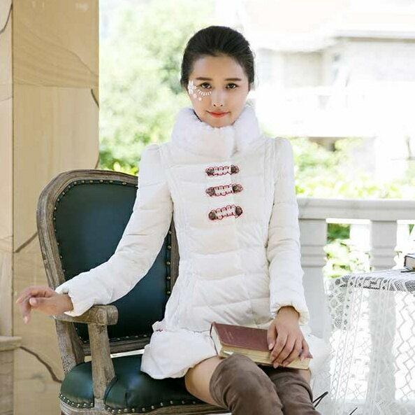 ★羽絨外套 中長款外套-公主可愛毛領修身顯瘦女外套72i12【獨家進口】【米蘭精品】
