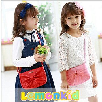 Lemonkid:Lemonkid◆可愛甜美小公主質感蝴蝶結造型兒童斜背肩背包晚宴包