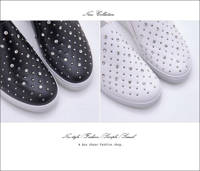 格子舖*【KS612】 低調奢華水鑽皮革 2.5CM隱形內增高V口鬆緊厚底3CM休閒鞋 懶人鞋 2色 2