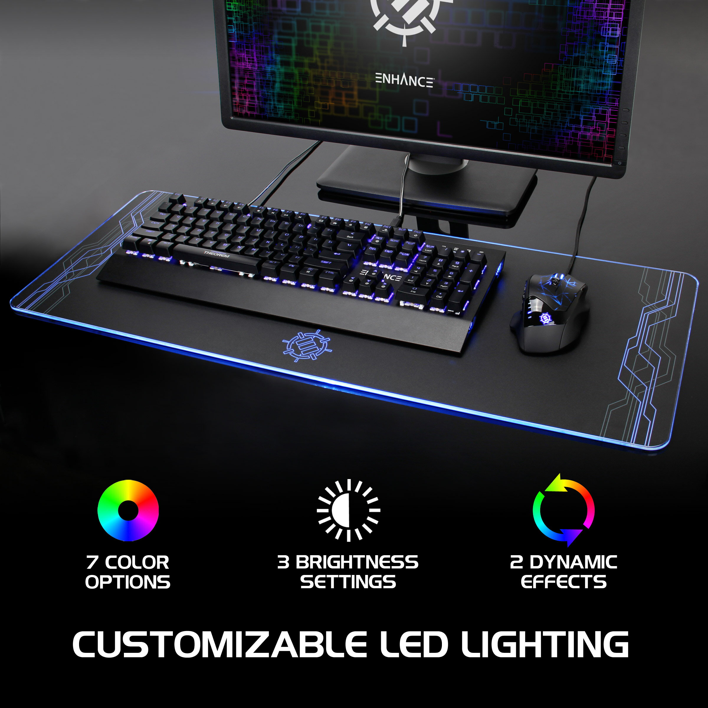 5da8ceeed19 ENHANCE Extra Large LED Gaming Mouse Pad - Hard XXL Desk Mat with 7 Colors &