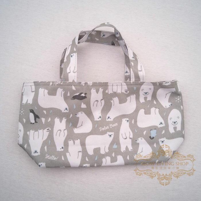 日本進口 (小北極熊-灰) H15CM 保冷袋 保溫袋 便當袋 野餐 露營 手提袋