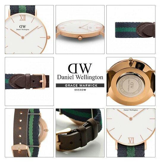 瑞典正品代購 Daniel Wellington 0552DW 玫瑰金 皮革 尼龍 帆布錶帶 男女錶 手錶腕錶 36MM 2