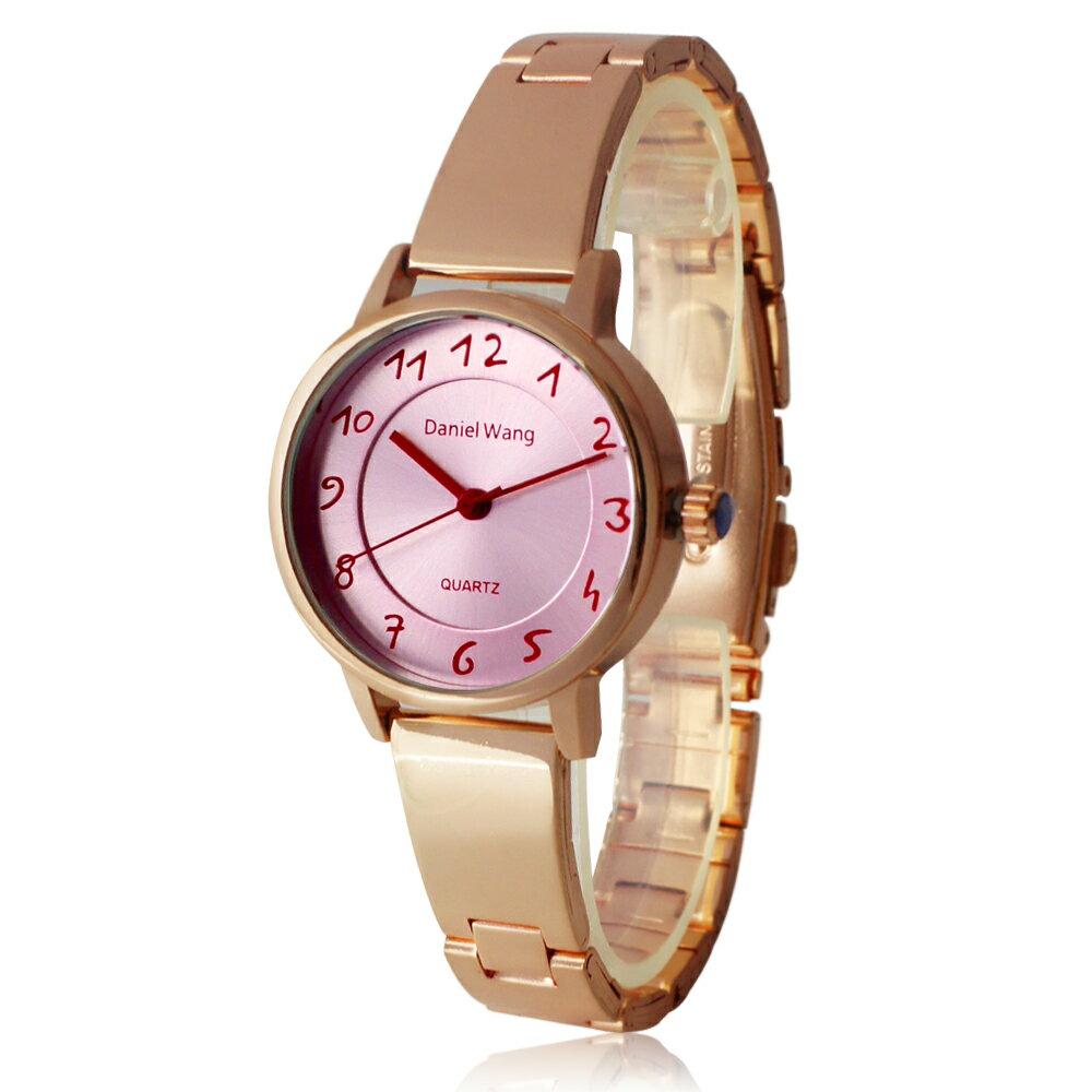 Daniel Wang 3139-K 典雅小巧錶帶玫框手寫數字質感手錶 1