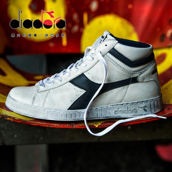 【巷子屋】義大利國寶鞋-DIADORA迪亞多納男款原廠經典復古仿舊牛皮籃球鞋[C5262]白黑超值價$980