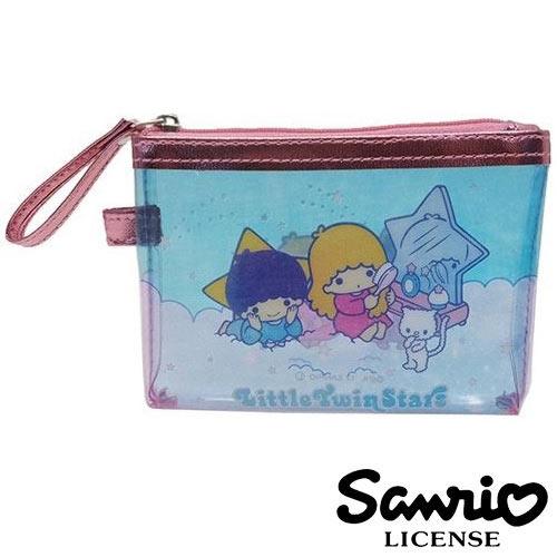 【日本進口正版】雙子星 KIKILALA 三麗鷗人物 防潑水 小型 收納包 收納袋 卡片包 零錢包 - 428433