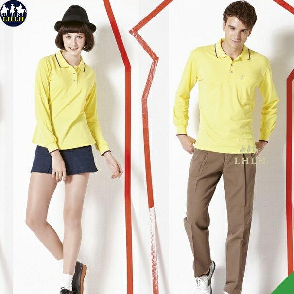 吸濕排汗衣 男 polo衫長袖慢跑運動上衣 黃色
