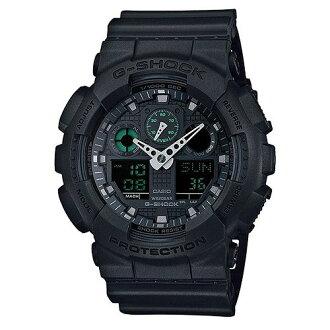 CASIO G-SHOCK GA-100MB-1A重裝黑綠雙顯流行腕錶/黑面51mm