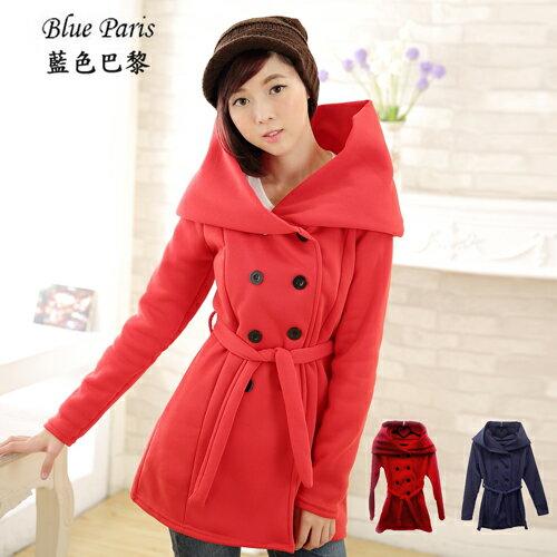 外套-內刷毛玫瑰領雙排釦附綁繩外套《3色》【30221】  藍色巴黎 ☛ 現貨商品