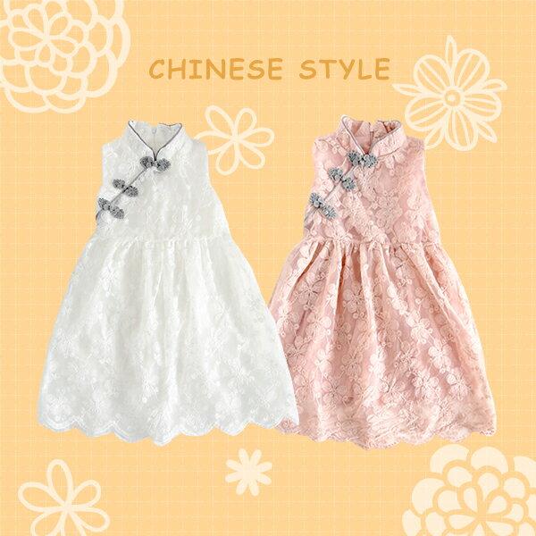 中國風花朵刺繡紗網立領無袖連身裙0403(白粉)【K29040】