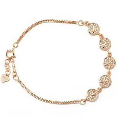 ~玫瑰金手鍊 鑲鑽純銀手環 ~ 奢華氣質迷人情人節生日 女飾品2色73dl22~ ~~米蘭