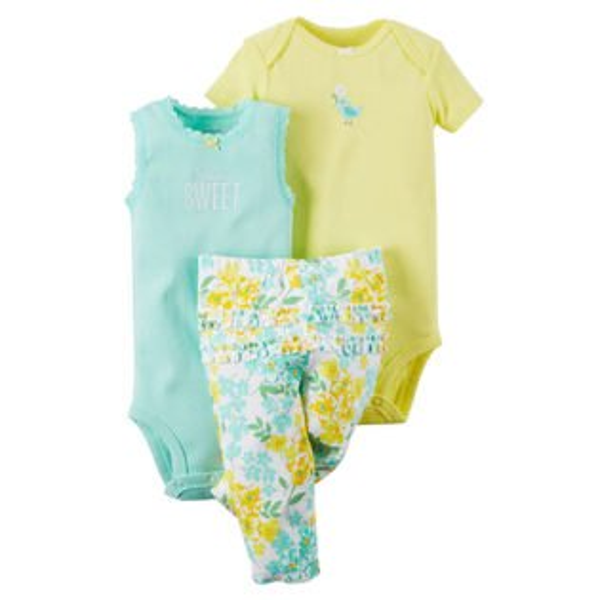 Carter's美國童裝包屁衣短袖無袖長褲套裝黃色花朵三件組3M6M9M12M18M24M
