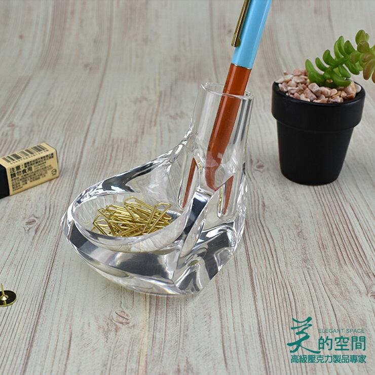 【美的空間】透明水晶壓克力 高爾夫球桿造型筆筒架 桌上型文具收納座 創意紙鎮筆筒#4994 台灣製 禮贈品 0