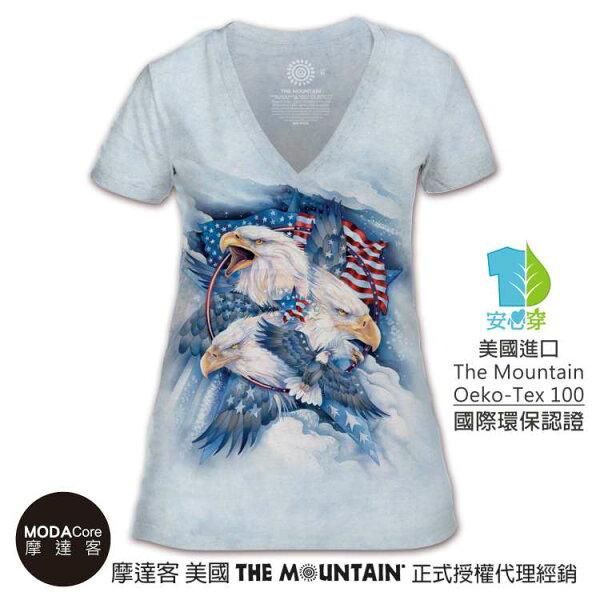 【摩達客】(預購)美國TheMountain都會系列忠誠鷹V領女版短T