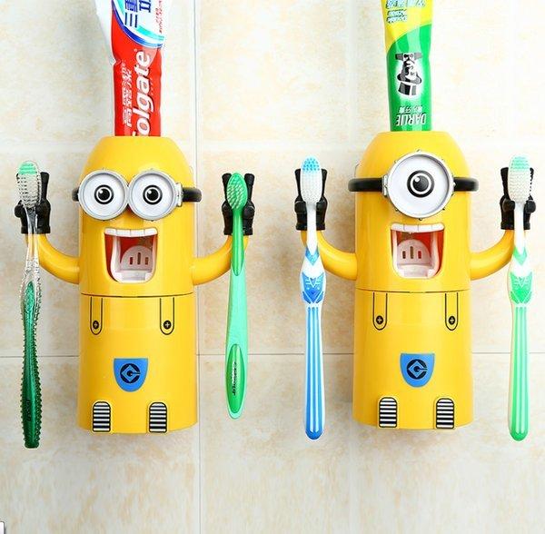 =優生活=【現貨】小小兵 神偷奶爸 可愛卡通自動擠牙膏器 小小兵牙刷架/牙刷組 漱口杯 浴室收納置物架