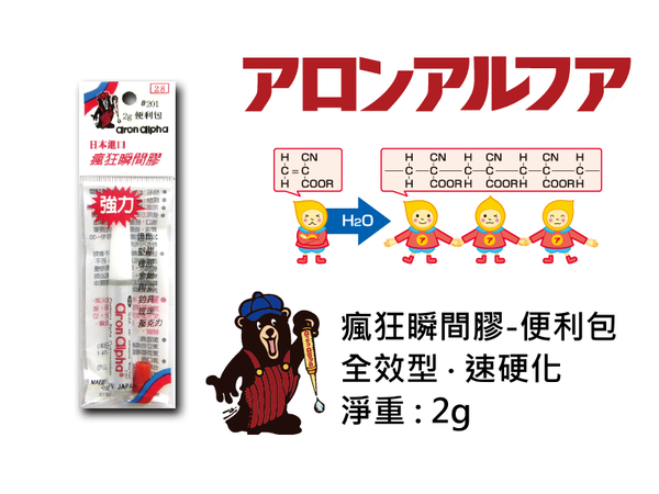 【文具通】アロンアルフアKrazyAronAlpha瘋狂瞬間膠接著劑便利包2gL2040021