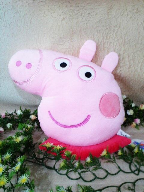 ~*My 71*~  絨毛娃娃 12吋 粉紅豬小妹頭型抱枕 抱枕 peppa pig 佩佩 車枕 靠枕 禮物 玩具