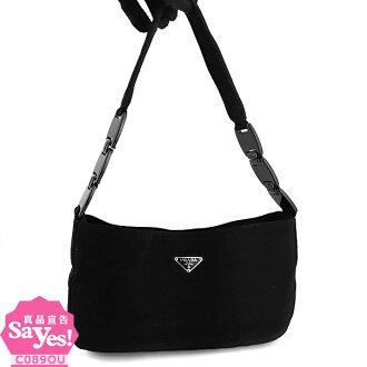 【奢華時尚】PRADA 三角牌-黑色布料肩背空姐包(八成新) #21180