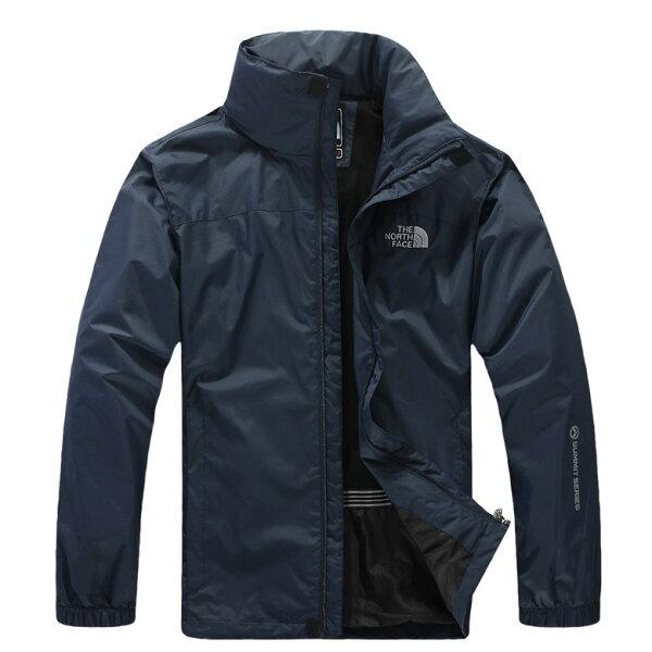Topshop:北臉THENORTHFACE立領保暖外套防寒防風水機能衣系列風衣騎士外套深藍