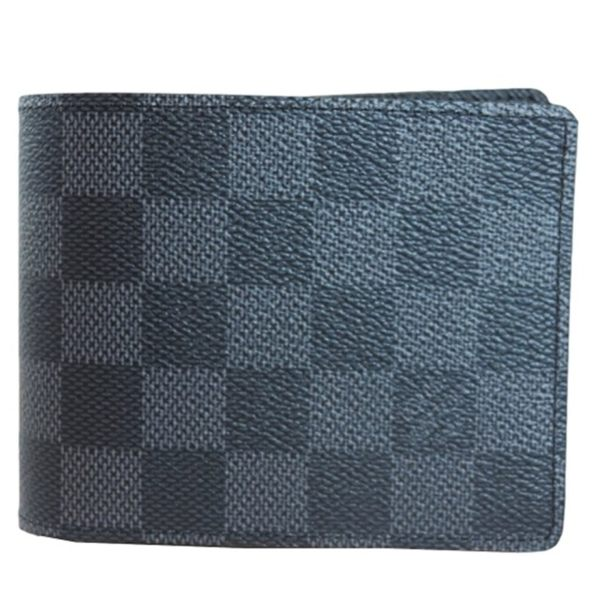 【LV】黑灰棋盤格 交叉 5卡 短夾 N62663