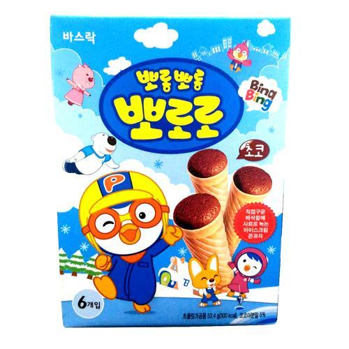 啵樂樂甜筒威化-巧克力風味53.4g【愛買】