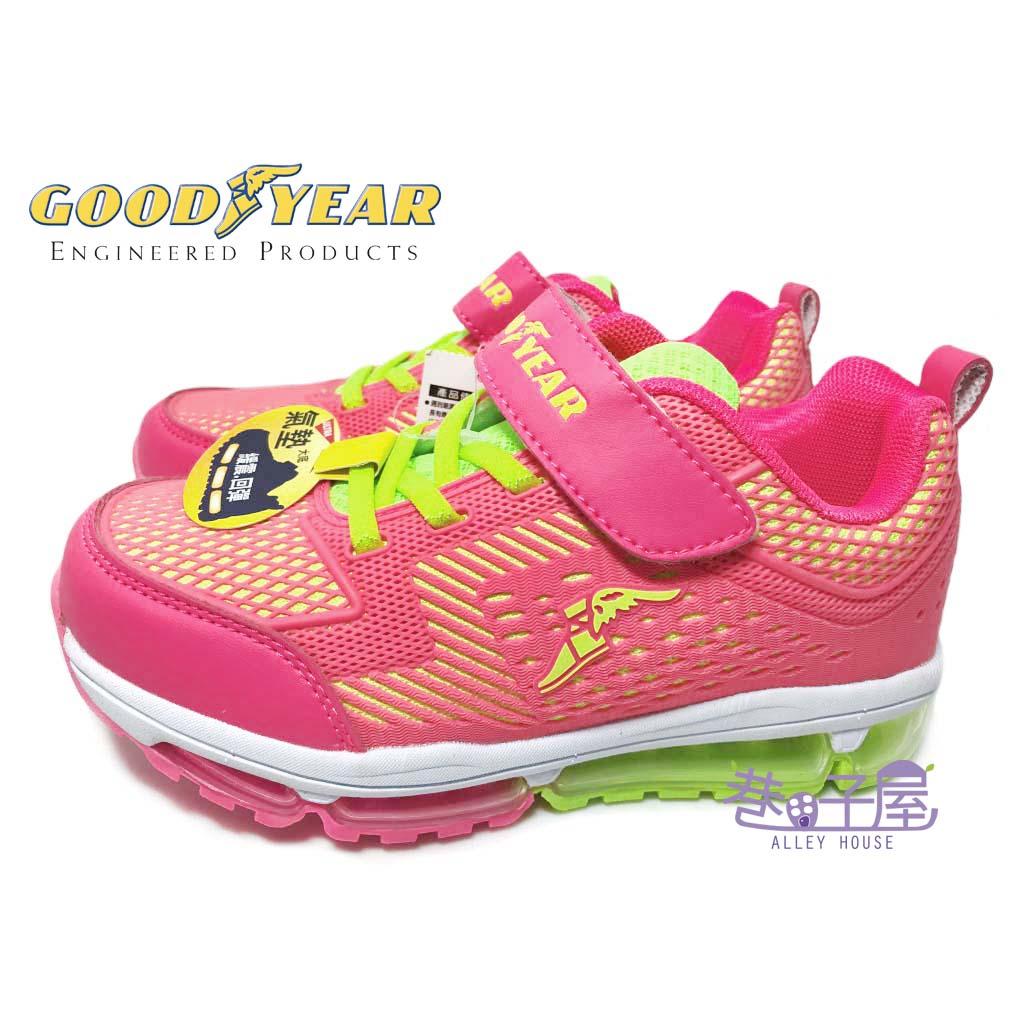 【巷子屋】GOODYEAR固特異 女童KPU全氣墊運動慢跑鞋 [58662] 螢光粉 超值價$590