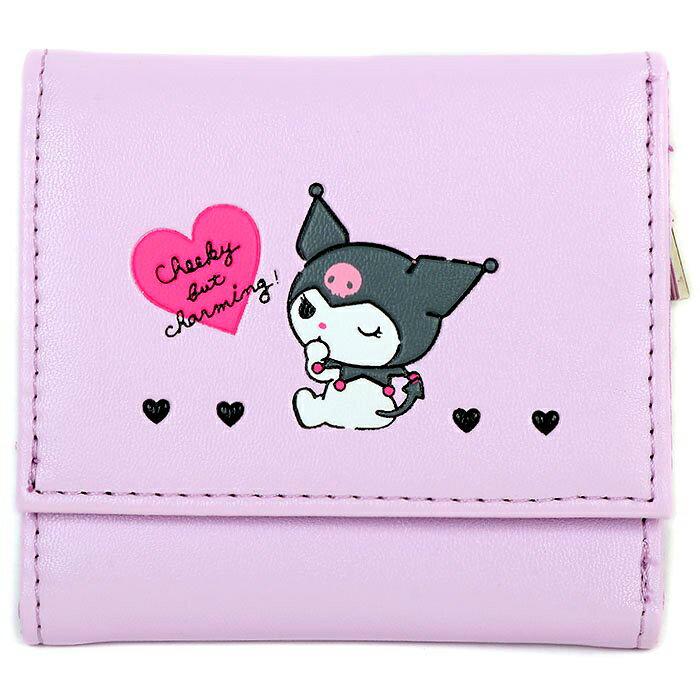 皮質扣式短夾 三麗鷗 大耳狗 凱蒂貓 酷洛米 三折短夾 日本進口正版授權