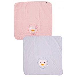 PUKU藍色企鵝 - 四方毛巾被(夏被) 水藍/粉紅 0