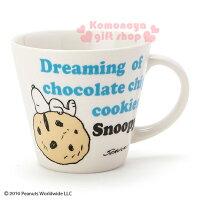 史努比Snoopy商品推薦,史努比馬克杯推薦到〔小禮堂〕史努比 陶瓷馬克杯《白.躺餅乾上.文字.310ml》