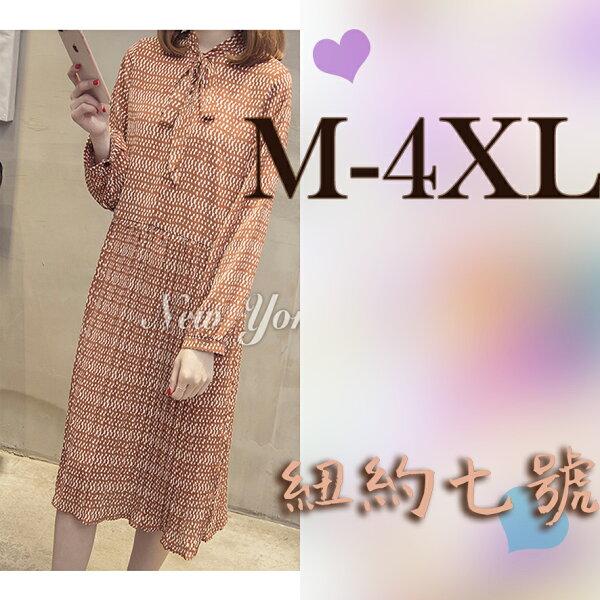 大尺碼雪紡長袖蝴蝶結洋裝M-4XL【紐約七號】LG-445