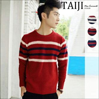 針織毛衣‧簡約雙色橫條紋圓領針織毛衣‧三色【NTJ0089】-TAIJI